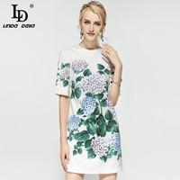 High Quality 2018 Fashion Runway Designer Summer Dress Women S Short Sleeve Floral Print Straight Casual