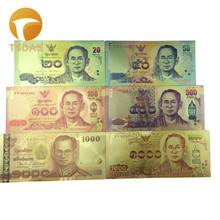 Full Sets 24K Gold Banknote Thailand 20 1000 Gold Foil Banknote 6pcs lot as Business Christmas