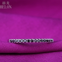 HELON Sterling Silver 925 Pave 100% Genuine Black Diamond Band Style Exquisite Engagement Wedding Women Trendy Fine Jewelry Ring