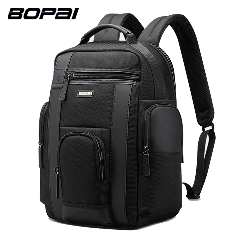 BOPAI Laptop Backpack Multifunction Large Capacity Anti Theft USB Charge Shoulder Bag Travel Leather Backpack for Men Waterproof yingnuost d66 anti theft multifunctional waterproof backpack digital camera shoulder oxfords with inner bag large capacity