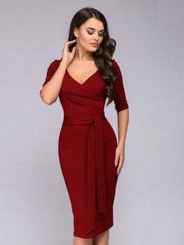 0301d161182 Для женщин v-образным вырезом Половина рукава Slim платье 2019 элегантные  Going Out Bodycon работа в офисе ремень бордовый голубое платье