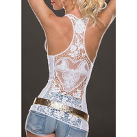 2016 Summer Fashion Womens Tank Top Sexy Lace Tops Crochet Back Hollow Out Woman Vest Camisole