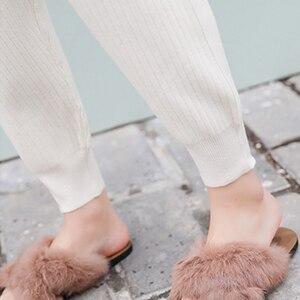 Image 5 - ミッドウエストニットハーレムパンツ女性ズボン巾着スキニーパンツポケットニットストライプスウェットパンツパンタロン 2019