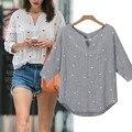 Das senhoras das Mulheres Com Decote Em V Camisa Casual Médio Luva Imprimir Praia Solto Tops Blusa