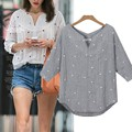 Ladies Women V-Neck Shirt Casual Medium Sleeve Print Loose Beach Tops Blouse