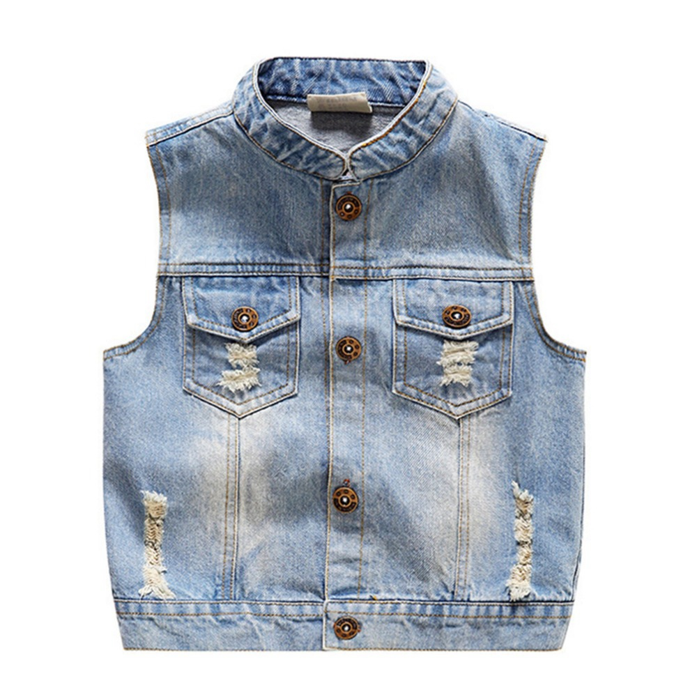 1-5T Baby Vests Boys Girls Jeans Babe Jacket Denim Waistcoats Outerwear Children Clothing Spring Autumn Clothes Kids Vest Tops