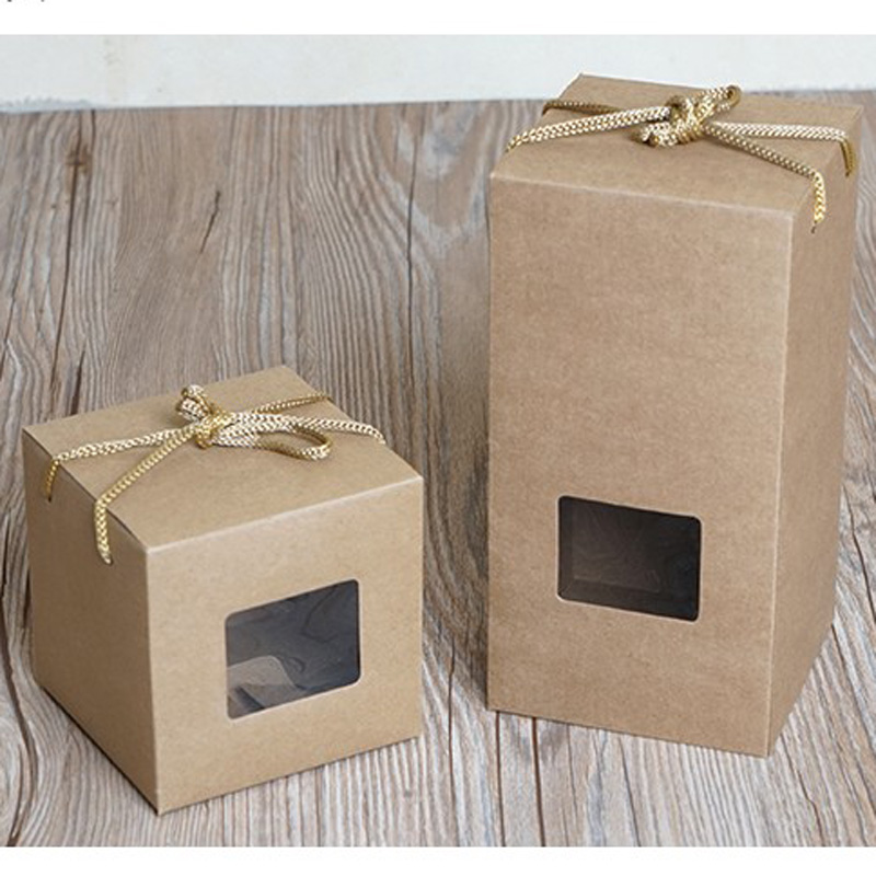 100pcs lot Kraft Paper With Window Cosmetic Cream Jar Bottle With Ropes Gift Craft Packaging Box