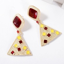 Vintage Metal Drop Earrings Women Party Geometric Oil Red Stone Fashion Statement Jewelry