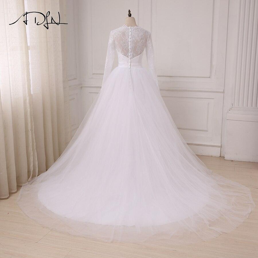 ADLN În stoc Rochii ieftine de nuntă albă Aplică Lace Tulle - Rochii de mireasa - Fotografie 2
