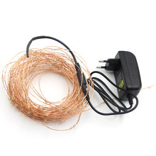 10m 50m LED String Fairy Lights Xmas Garland Party Wedding Decoration Christmas Flasher Micro LEDs Fairy Lights + power adapter(China)