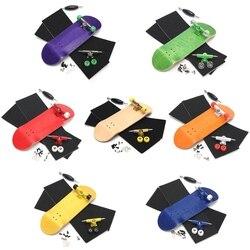 Básica da Madeira de madeira Fingerboard Dedo Skate Profissional Fingerboars Com Rolamentos de Roda de Espuma Fita Conjunto de 7 Cores