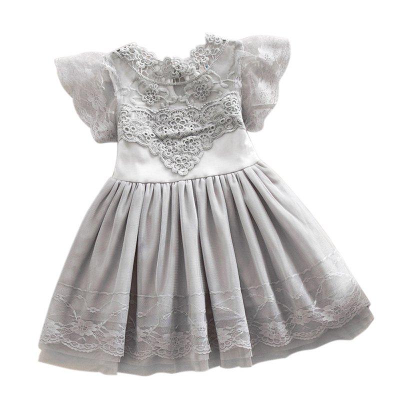 Summer Toddler Girls Princess Dress Baby Kids Lace Tulle Girl Dresses Floral Cute Tutu Dress 2-7Y
