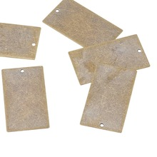 20pcs 32x18x0.3mm Metal Tags Antique Bronze, Brass Blank Stamping Tag Dangling Simple Jewelry Necklace Pendants, Rectangle