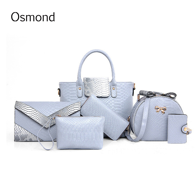 Osmond Women 6PCS Bag Sets Crocodile Women Leather Handbag Shoulder Bag For Women Messenger Bags Clutch And Card Pack Tote Bag patent leather handbag shoulder bag for women
