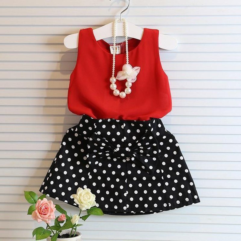 2018 New Summer Girls Clothes Red Vest Dot Skirts 2pcs Kids Suits 3 4 5 6 7 8 9 10 11 Year Children Clothing Set 2018 new fashion summer girls children clothing sets sleeveless t shirt red tank top vest skirts 2psc girls clothes suits
