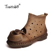 Tastabo цветок вырезы Женские сапоги осенние модные кожаные обувь ручной работы в стиле ретро Мягкие ботинки на плоской подошве ботинки из натуральной кожи
