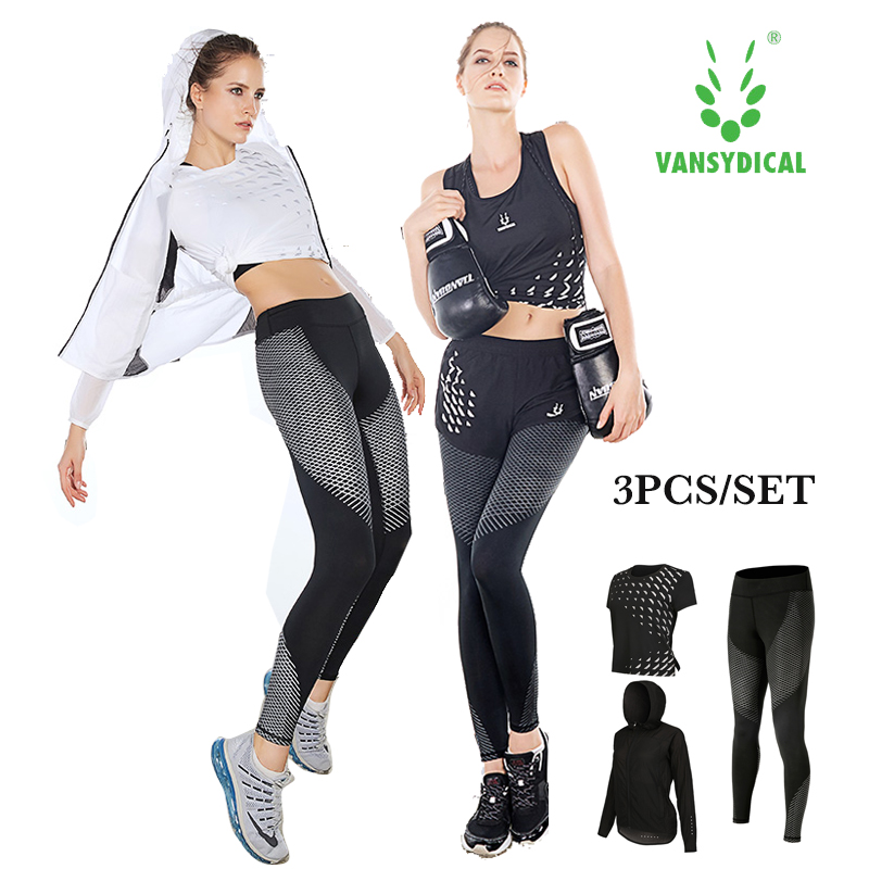 Yoga suit 3pcs of set womens summer gym clothing fitness running suits short sleeve show ...