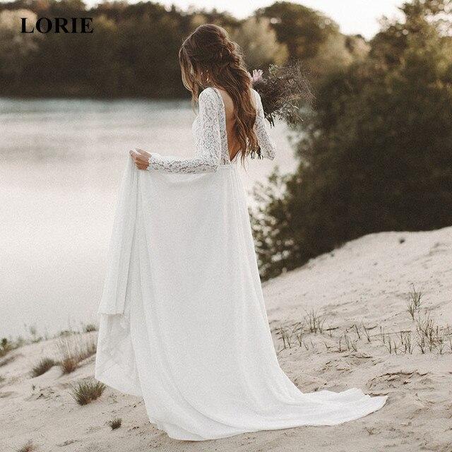 לורי חוף חתונת שמלה ארוך שרוול Boho V צוואר גב פתוח כלה שמלות 2019 שיפון נסיכת תחרה שיפון שמלת כלה novia