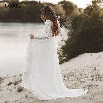 LORIE Beach Wedding Dress Long Sleeve Boho V Neck Open Back Bridal Dresses 2019 Chiffon Princess Lace Chiffon Wedding Gown Novia