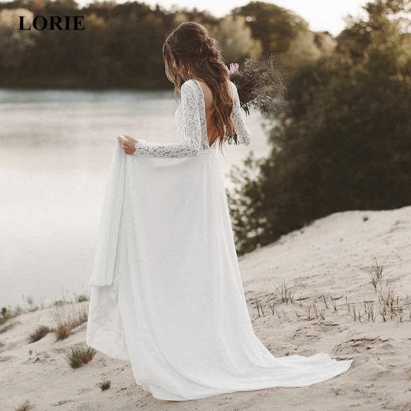 ffcbad7729 LORIE Beach Wedding Dress Long Sleeve Boho V Neck Open Back bridal dresses  2019 Chiffon Princess