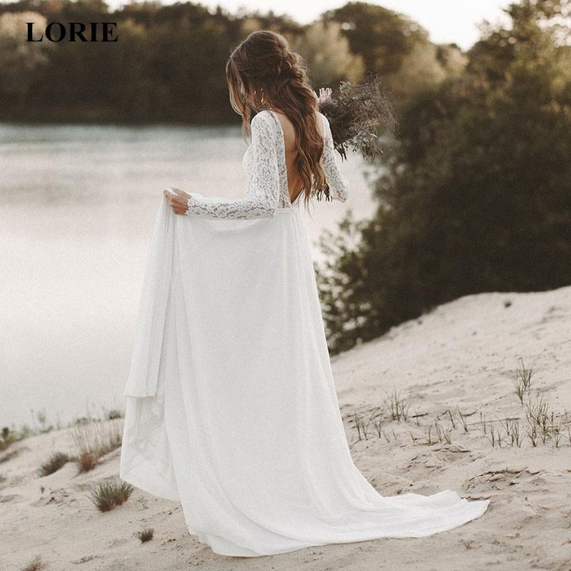 LORIE Strand Hochzeit Kleider Volle Hülse V-ausschnitt Open Back Boho Brautkleider Chiffon Prinzessin Party Kleider Sweep Zug 2020