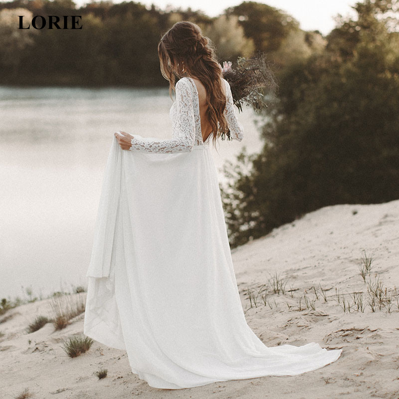 LORIE Plage De Mariage Robe À Manches Longues Boho Col En V Dos Ouvert robes de mariée 2018 Mousseline de Soie Princesse Dentelle Mousseline de Soie Robe De Mariage mariée