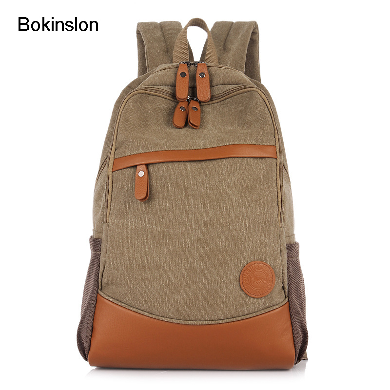Bokinslon School Backpack Men Fashion Canvas Solid Color Man Backpack Bags Patchwork Casual Backpack For Male bokinslon fashion man backpacks all match men s backpack brand men canvas bag popular mens designer backpack