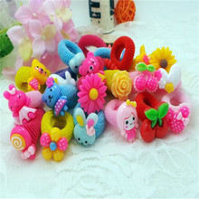Real 10 Pcs/lot Cute Fashion Flower Headband Children Hair Accessories Elastic Bands Baby Girl Hairband Animals Rubber Ropes
