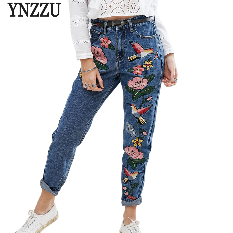 YNZZU Pencil Jeans Embroidery Women Mom Denim Pants Bottoms