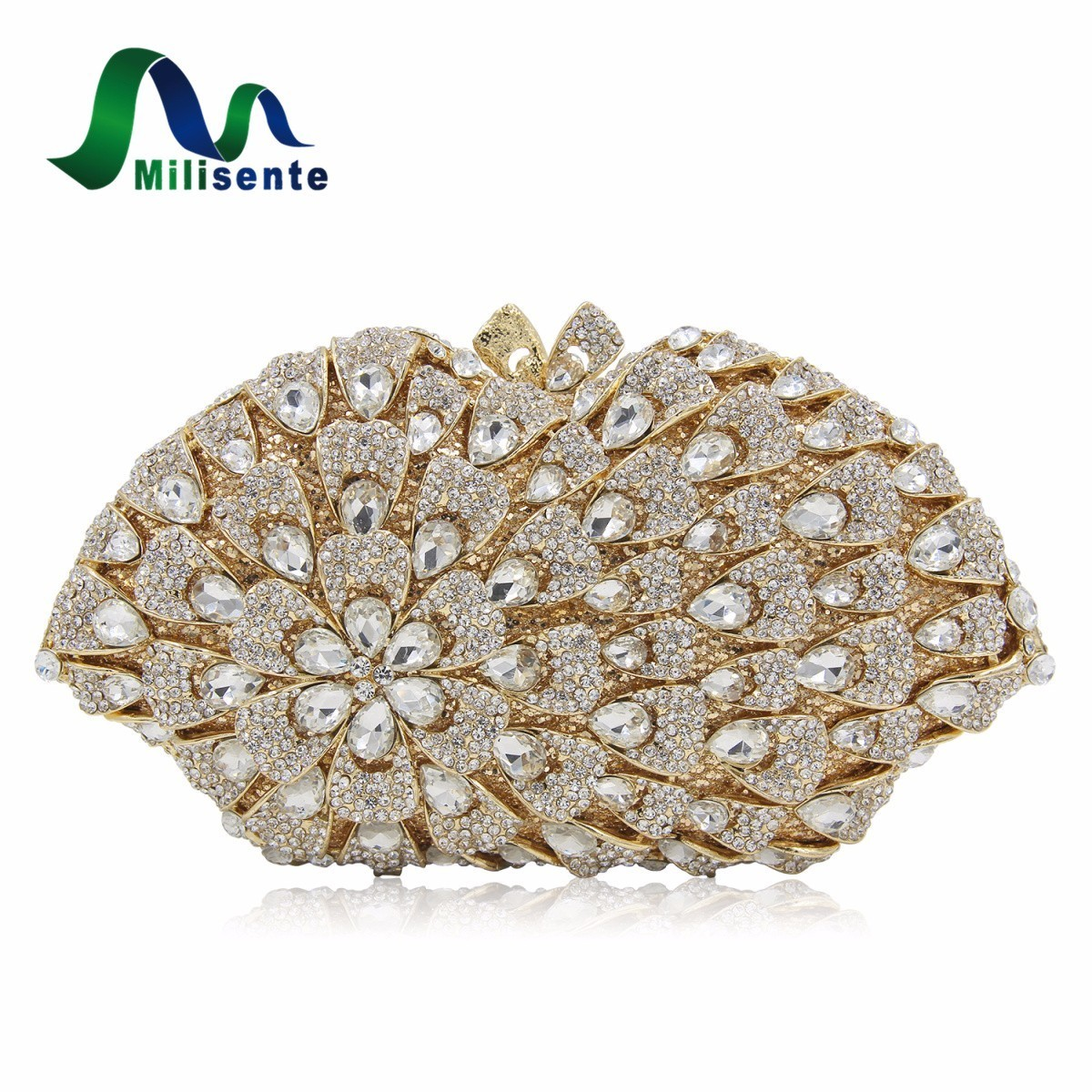 Milisente New Design Crystal Clutch Big Flower Women Evening Bag White Gold Ladies Wedding Purse High Quality milisente high quality luxury crystal evening bag women wedding purses lady party clutch handbag green blue gold white