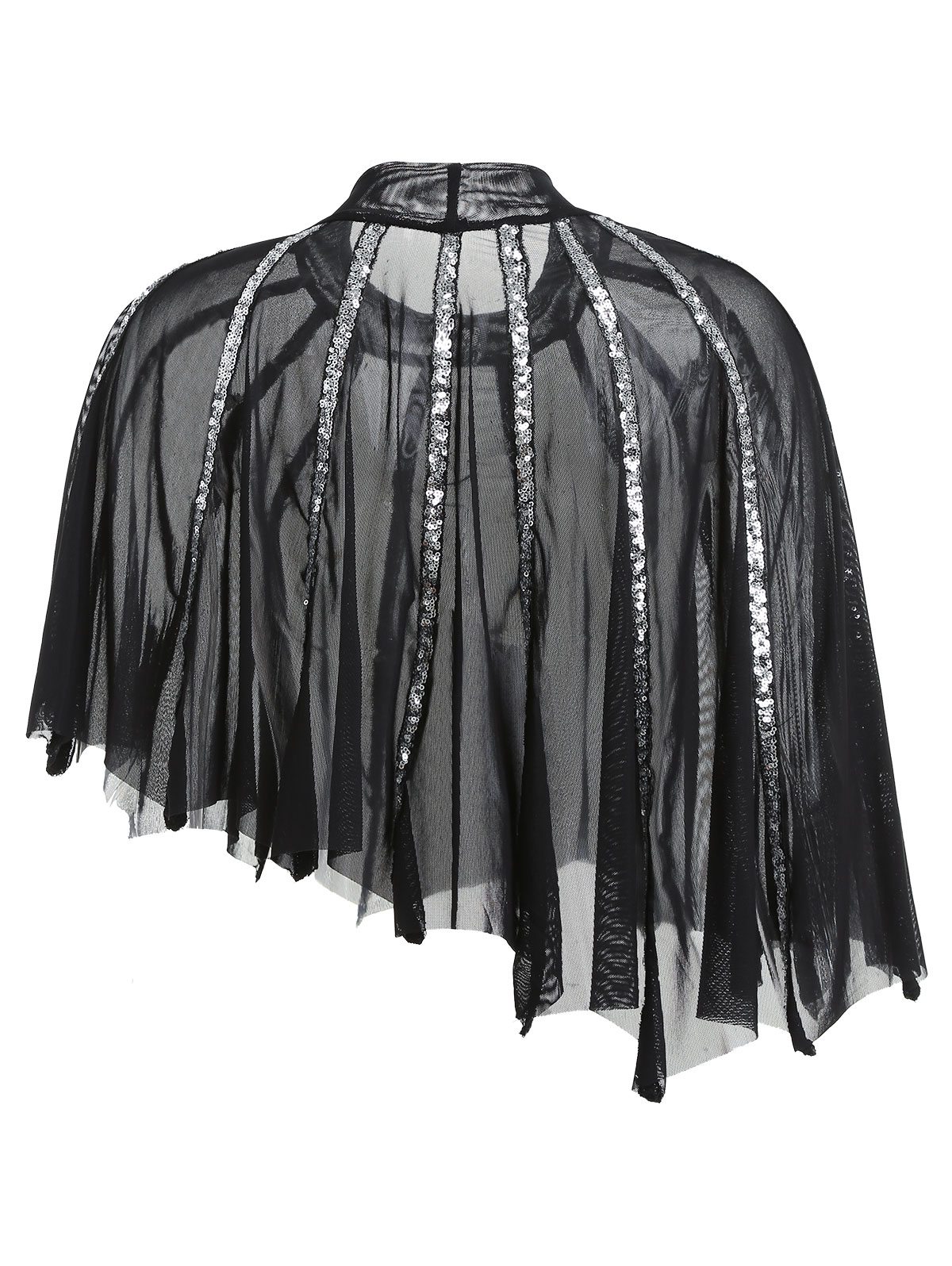 aecfae51 Wipalo Plus Size See Thru Sequins Sheer Mesh Cape Asymmetric Blouse Women  Mock Neck High Low Mesh Crop Blouse 5XL Blusas Top-in Blouses & Shirts from  ...