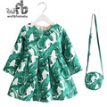 Retail 2-8 years Princess Dress +bag/set thickened velvet print leaf full-Sleeves green Clothing Girl Spring autumn fall winter