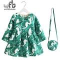 Venta al por menor 2-8 años Vestido de la Princesa + bolsa/set espesada velvet impresión hoja Mangas llenas Ropa de color verde chica de Primavera, otoño, invierno