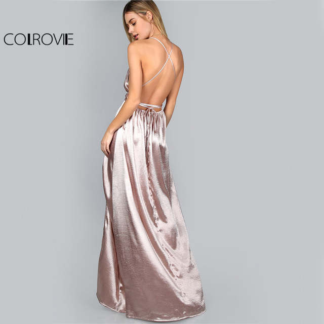 ac3bf2e261 placeholder COLROVIE Maxi Party Dress Women Pink Plunge Neck Sexy Cross  Back Wrap High Slit Summer Dresses
