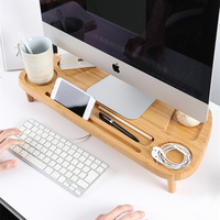 Bamboo LCD Monitor Heighten Holder Desktop Space Saving Bamboo Lapdesk Storage Base for Mobile Phone/Keyboard/Cups/Potted Plant