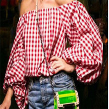 New High Street Classical Women's Sexy Off Shoulder Long Sleeve Red&White Plaid Shirt Square neck Tops Bandage Blouse Fashion