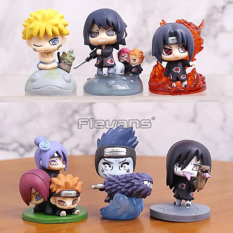 Naruto Shippuden Akatsuki Uchiha Itachi Sasuke Orochimaru Konan Pain Hoshigaki Kisame Sasori Mini PVC Figures Toys 6pcs/set 5cm sonny angel mini figures easter series 6pcs set toys christmas