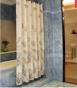 Hot Selling Romantic Magnetic Shower Curtain Thick Mold Waterproof  Insulation Shower New Pet Leaves Home Bathroom