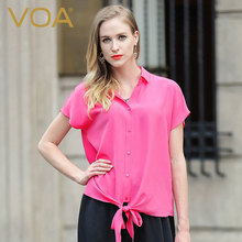 VOA blue white and red color 100 Silk Shirt female 2017 new streetewar loose Bat Sleeve
