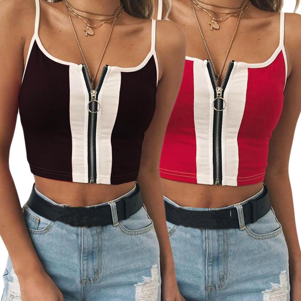 Europe And America Style Womens Summer Sleeveless Vest Crop   Top   Ladies Casual Zip Up Slim Short Camis   Tank     Top