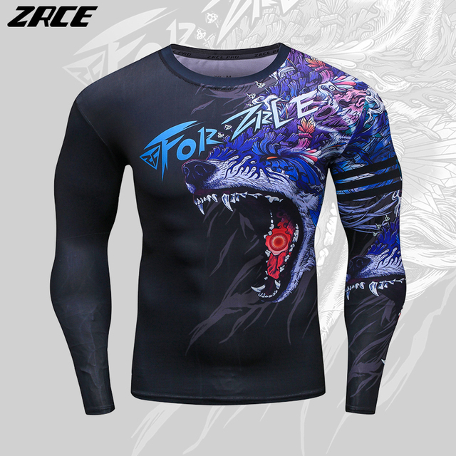 ZRCE 2017 Costume 3d Two Piece Set Wolf Cosplay Plus Size Skinny Men Compression Jerseys Funny T Shirt Fashion Full Men Suits 2
