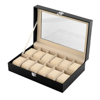 High Quality Jewelry Storage Case 12 Cell Jewelry Watch Display Box PU Leather Glass Showing Trays Watches Organizer Gift Boxes