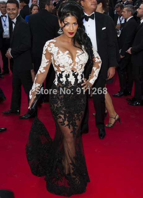 Buy sexy see through red carpet dress mermaid two color celebrity dress with - Black and white red carpet dresses ...