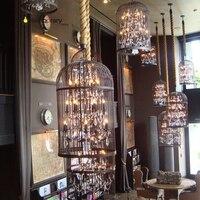 Retro Lamparas Black Decor American Vintage Industrial Bird Cage Pendant Light With Crystal Ornaments Nordic Birdcage 35/45cm