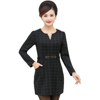 Office Lady Spring Dress Business Casual Dresses With Belt Design Middle Aged Woman S Long Sleeve