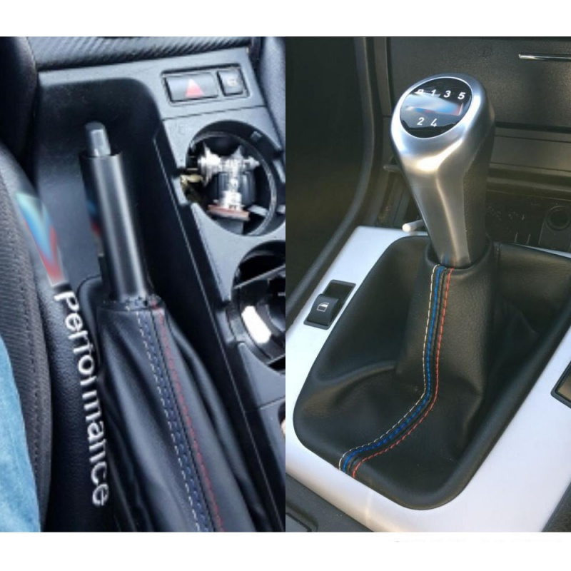 NEW 2pcs Car Leather Gear Head Shift Knob Cover Handbrake Grip Car Hand Brake Covers Case