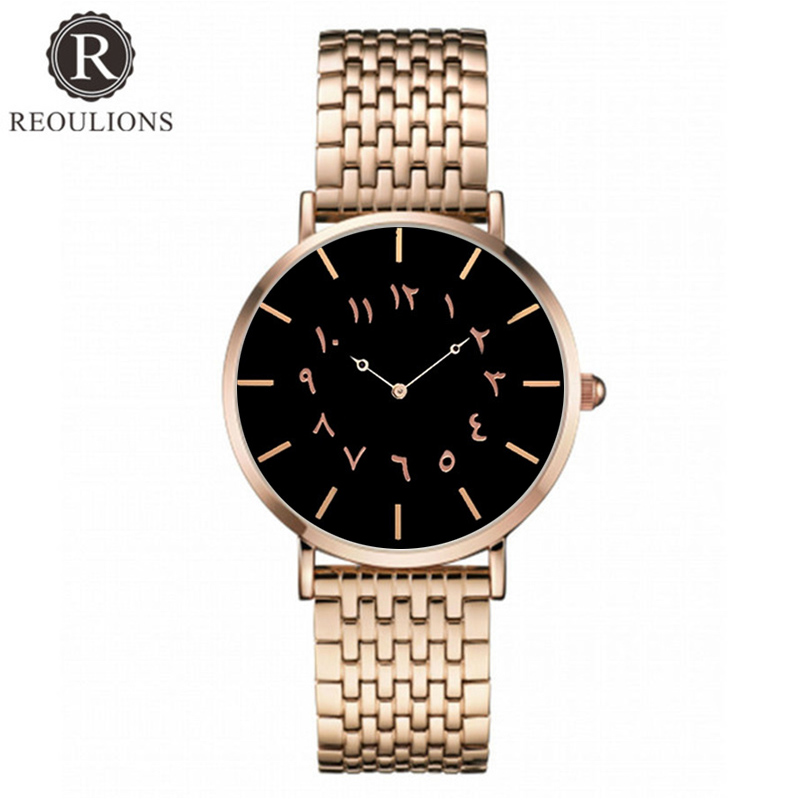 REOULIONS Top Luksus Brand New Arabic Numbers Watch Fashion Steel - Dameure - Foto 1