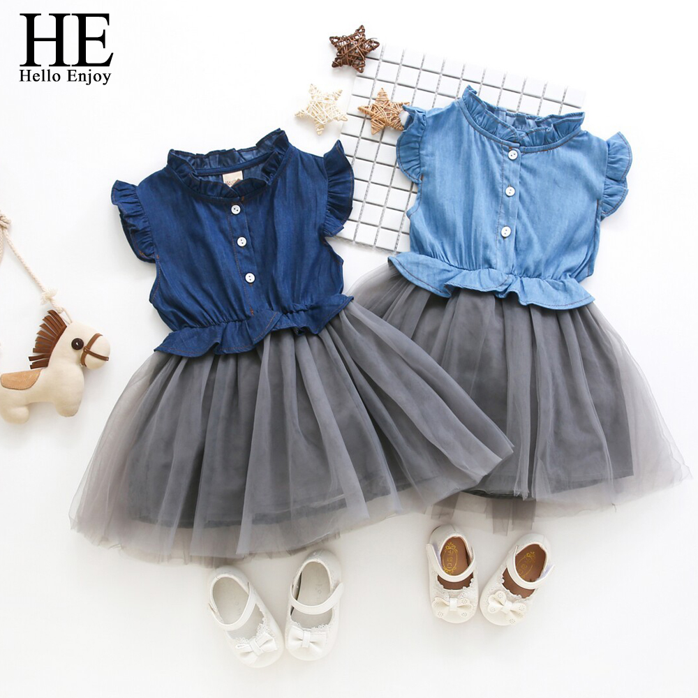 HE Hello Enjoy Girls Summer Dresses 2018 Wedding Kids Dresses For Girls Sleeveless Denim Mesh Princess Dress Elegant Children summer baby girl dress children sleeveless girls denim dresses princess bowknot prints flower dress kids dresses for girls