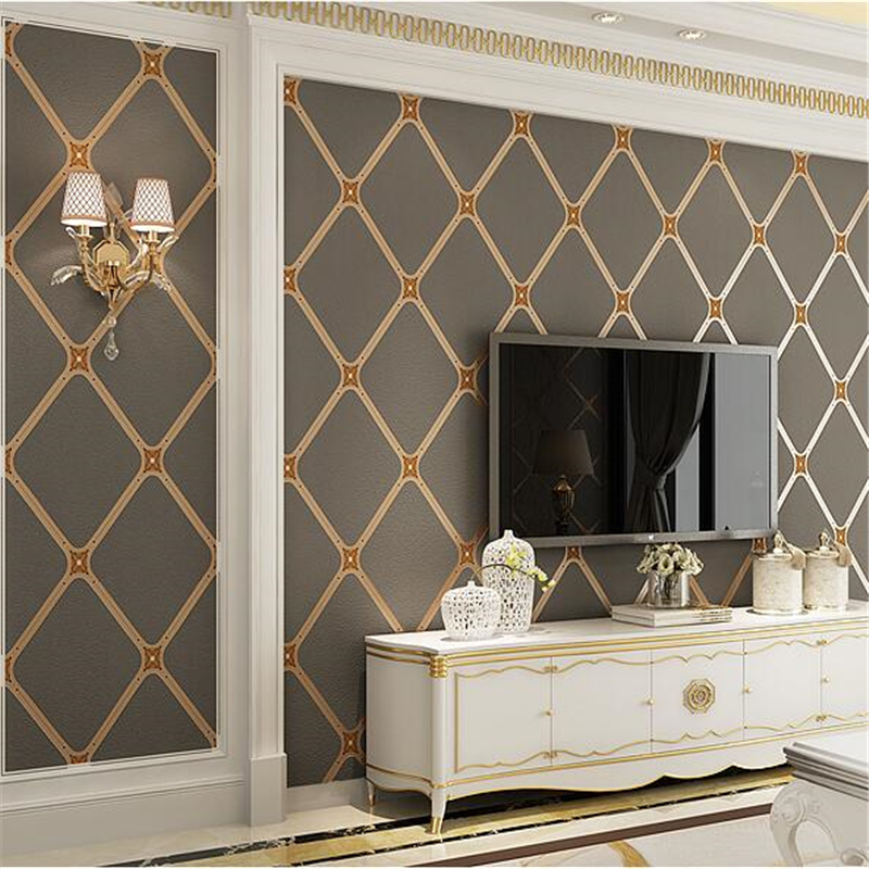 beibehang New living room TV background wall paper bedroom hotel European style wallpaper Lingge package deer leather wallpaper цена