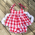 2017 spring summer baby girls clothes sleeveless Red&Blue Plaid 2 pcs clothes set suit cotton children kids clothing set